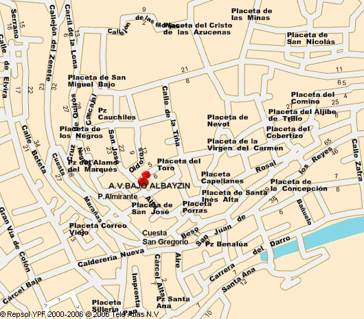 Localización de la sede de la Asociación Bajo Albayzín