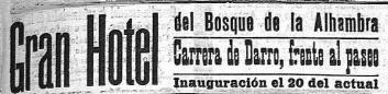 Anuncio aparecido en El Defensor de Granada el día de la inauguración (20-5-1910)