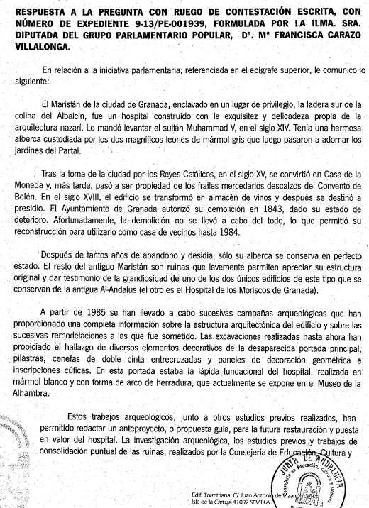 Maristan respuesta Parlamento 2013a
