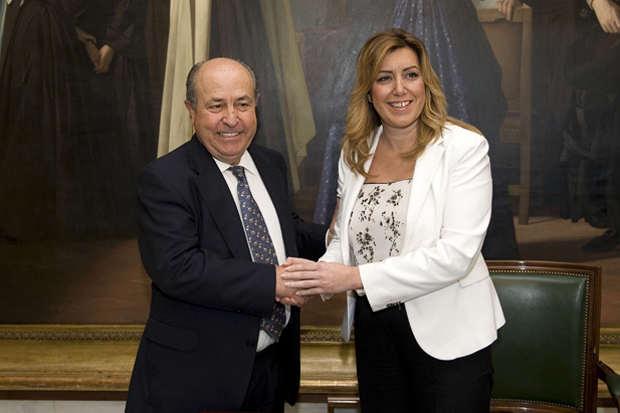 La Presidenta de la Junta de Andalucía, Susana Díaz, con el Alclade de Granada, José Torres.