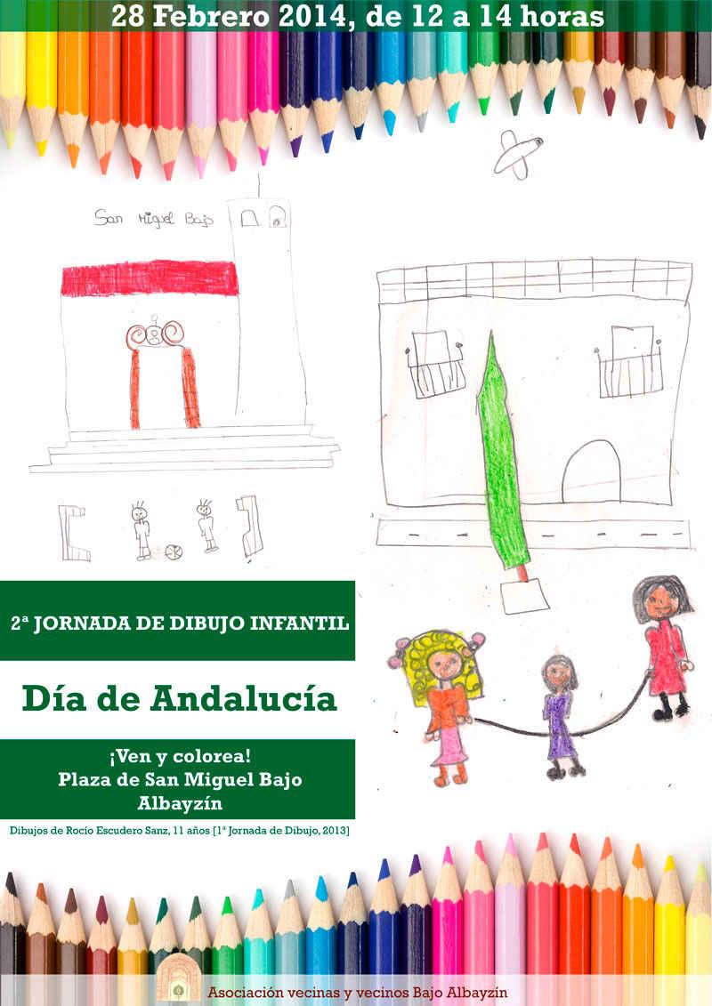 Cartel 2ª Jornada de dibujo infantil el Día de Andalucía. Asociación de Vecinos Bajo Albayzín 2014