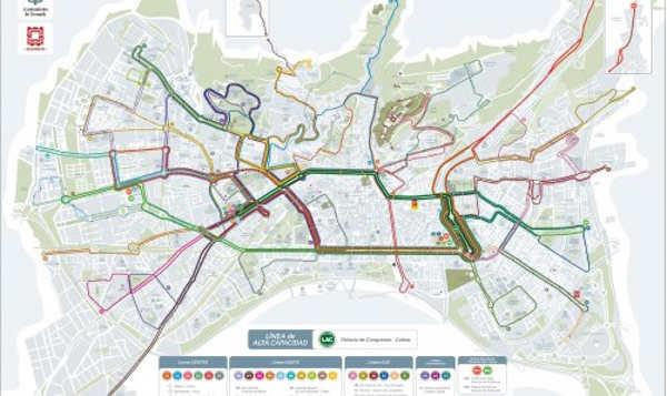 Nuevo plano de líneas de autobuses de transporte público de Granada que entrarán en funcionamiento en 2014.