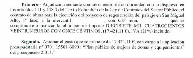 Aprobado en la Junta de Gobierno Local del pasado 15 de noviembre. GiM2014