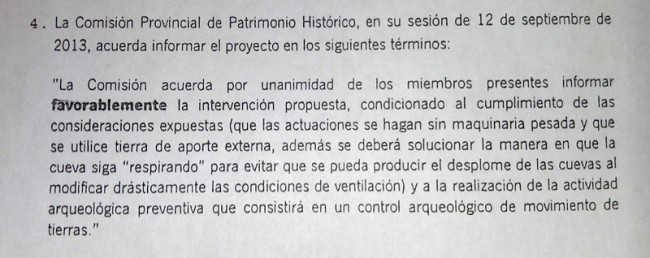 Dicho documento de la Comisión de Patrimonio Histórico es registrado en Urbanismo el 10 de octubre de 2013. GiM2014