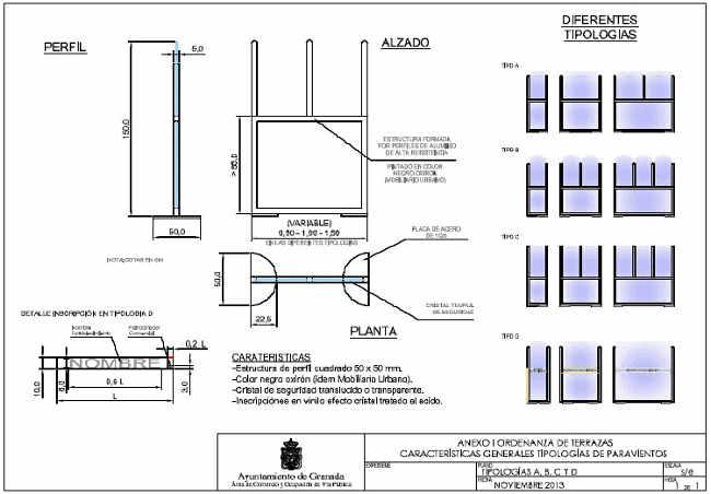 Modelos de paravientos parqa terrazas, previstos en la Ordenanza 2014