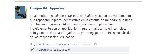 Comentario que Enrique Apperley ha escrito en facebook .