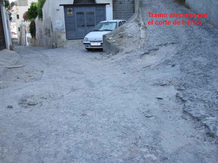 Tramo afectado por las obras de pavimentación de la calle Zenete.