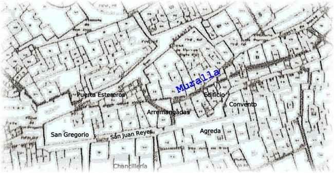 Detalle del lugar donde ha aparecido la muralla sobre un plano extraído de un trabajo de Antonio Orihuela.