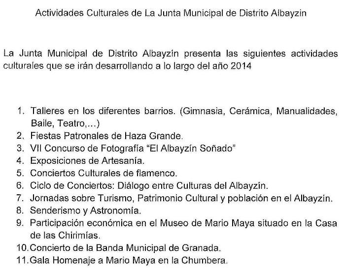Actividades cultura JMD 2014