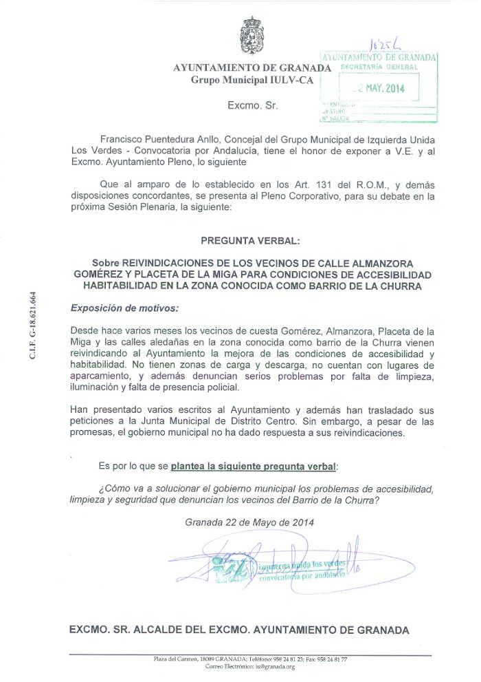 IU pregunta La Churra 2014