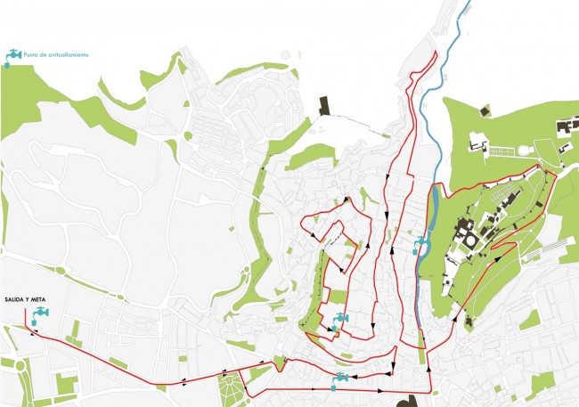 Recorrido de la carrera por las dos colinas: Albaicín y Alhambra. GiM 2014