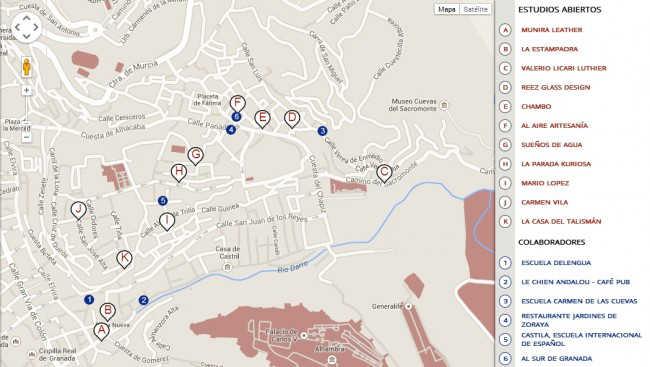 Mapa del 'Albayzín a mano' con los negocios artesanales y empresas colaboradoras. GiM2014
