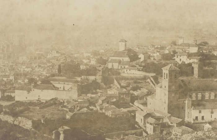 Iglesia del Salvador - La iglesia, a la derecha, con la parroquia de San Nicolás al fondo (1854)