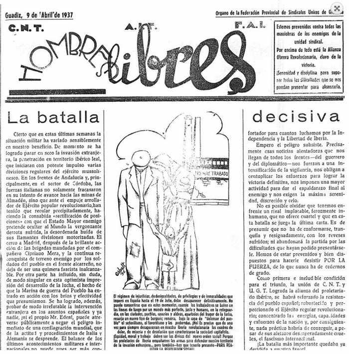 Ateneo Libertario - Portada de la publicación 'Hombres libres', que sería publicada por la CNT en la retaguardia republicana granadina durante la guerra civil. Imagen Mapa Memoria de Granada