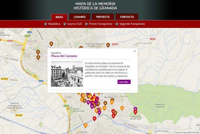 Ficha de la Plaza del carmen que figura en el Mapa de la Memoria Histórica de Granada. GiM 2014