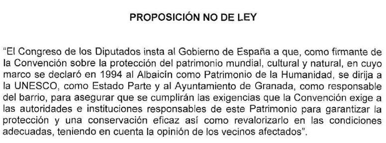 Propuesta No de Ley del PSOE en el Congreso sobre conservación del Albayzín como Patrimonio Mundial. 2014