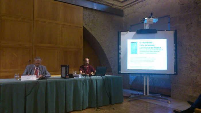 """Vincent Morales miembro de la Asociación Bajo Albayzín presentando una comunicación sobre """"Los empredados del Albayzín"""" en las Jornadas Hispania Nostra en la Alhambra 2014"""