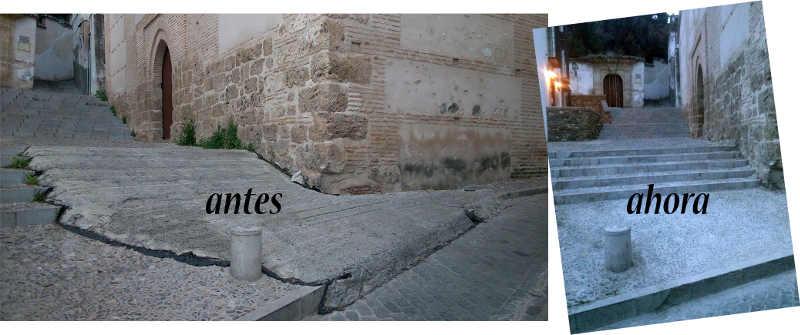 Placeta Escuelas en San Juan de los Reyes antes (con la rampa de hormigón) y ahora.