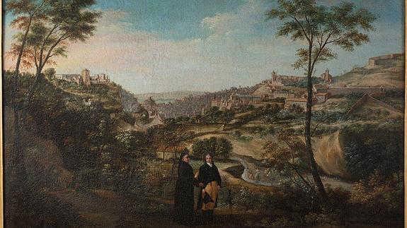 Cuadro de Fernando Marín adquirido por el Patronato de la Alhambra con un paisaje de  Granada desde El Avellano ID 2014
