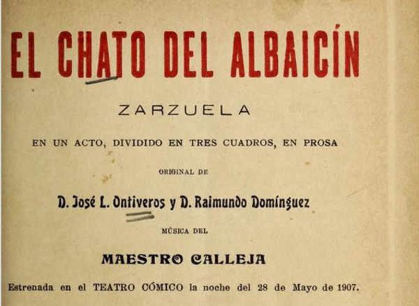 Portada del libro: Zarzuela El chato del Albaicín  de 1907