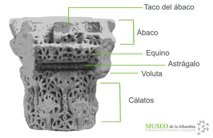 Esquema del capitel del baños. Museo de la Alhambra.