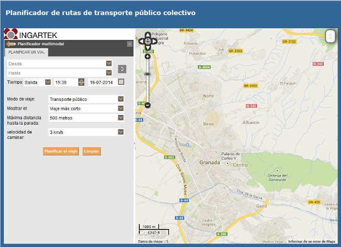 Planificador de rutas LAC del Ayuntamiento de Granada. 2014
