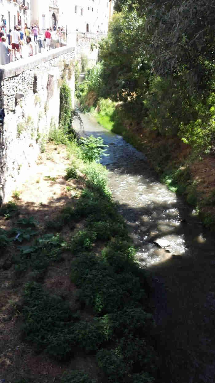 Aguas turbias por el río Darro el domingo 10 de agosto de 2014.