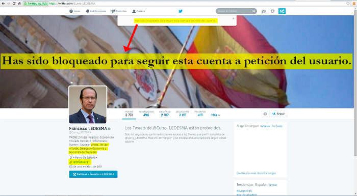 Francisco Ledesma, Tte. de Alcalde, Delegado Economía y Hacienda de Granada bloquea a esta Asociación de Vecinos en twitter. 2014