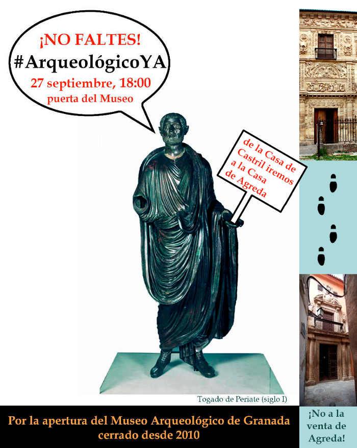 Cartel movilización por la apertura del Museo Arqueológico y contra la venta de la Casa de Ágreda. 2014