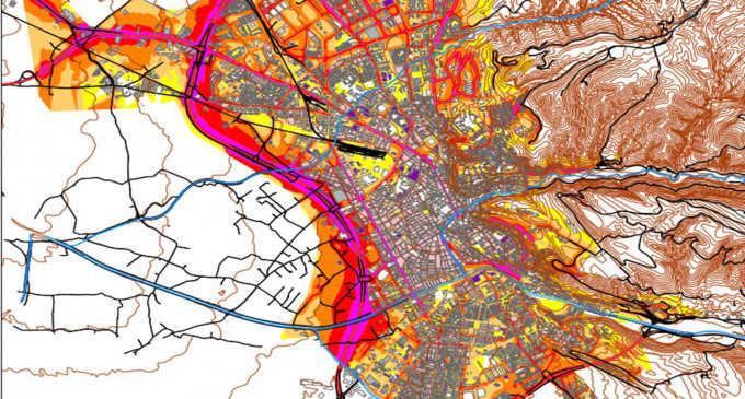 Una de las imágenes del mapa de ruidos de Granada