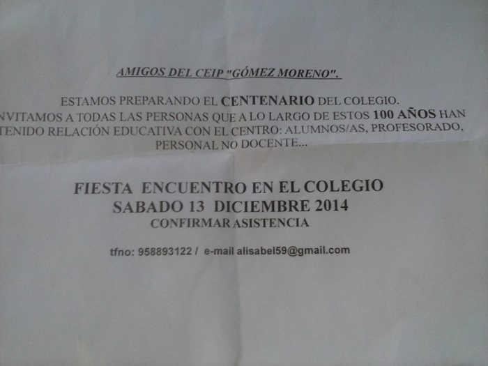 Centenario colegio Gomez Moreno