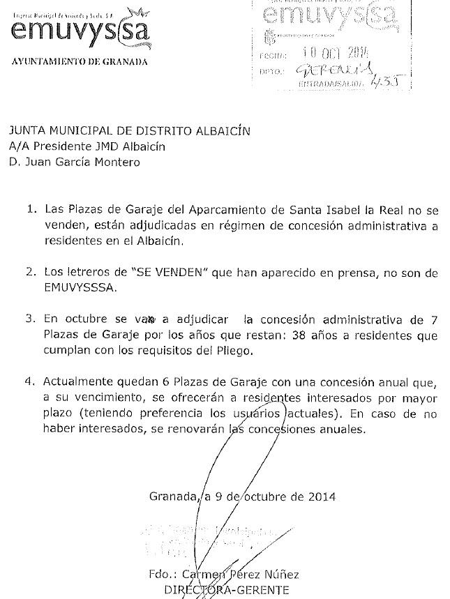 Respuesta EMUVYSSA aparcamiento Huerto del Carlos 2014