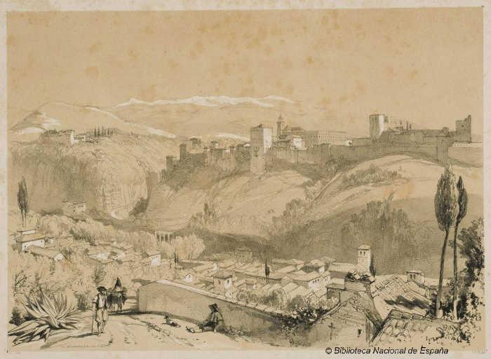 Vista General de la Alhambra [con el Albaicín en primer plano] Lewis 1833 BNE