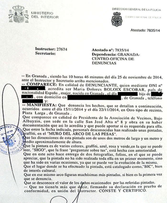 denuncia pintadas Arco Pesas AV Bajo Albayzin GiM 2014