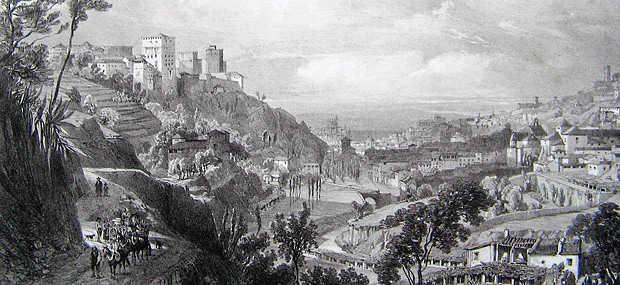 Camino de la fuente del Avellano, detalle de una litografía de Chapuy (1841 ca)
