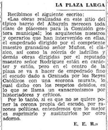 Plaza Larga 1935 nota Ideal