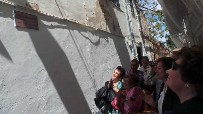Antonina Rodrigo, con gafas de sol, observa la placa dedicada por la Asociación del Bajo Albaicín en el Callejón del Gallo