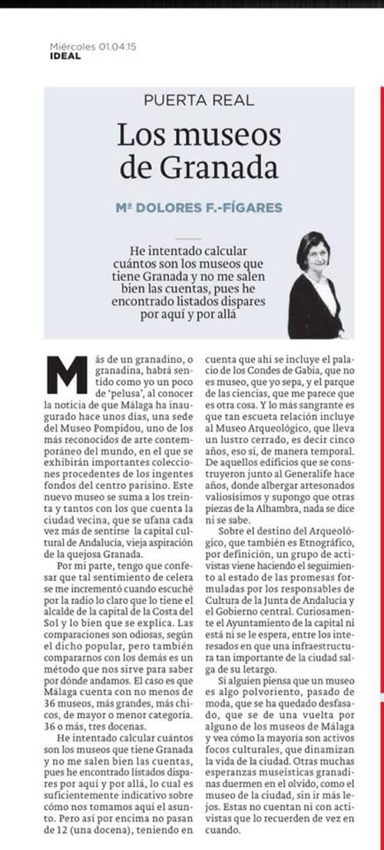 Los museos de Granada Ideal 20150401