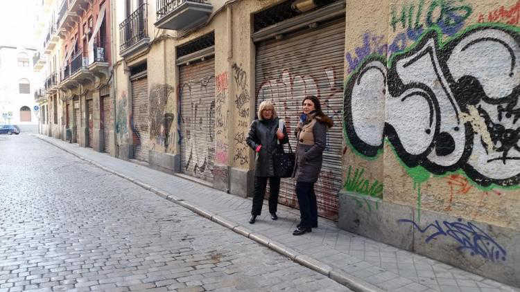 pintadas zona Gran Via PSOE 2016