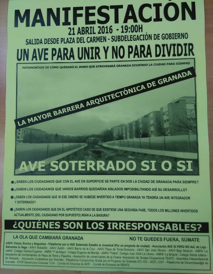 Cartel AVE Soterrado 20160421