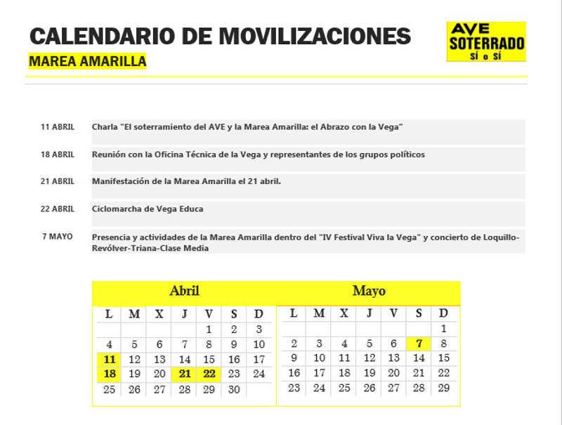 calendario marea amarilla AVE soterrado