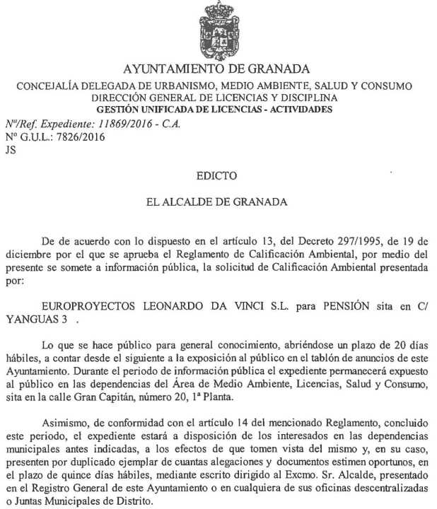 Edicto calificacion ambiental pension en Yanguas 3