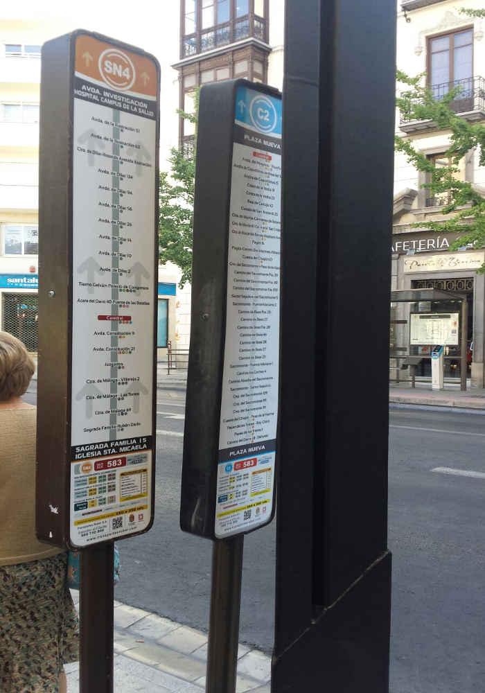 senales poco visbles parada bus C2 Gran Via 20160729