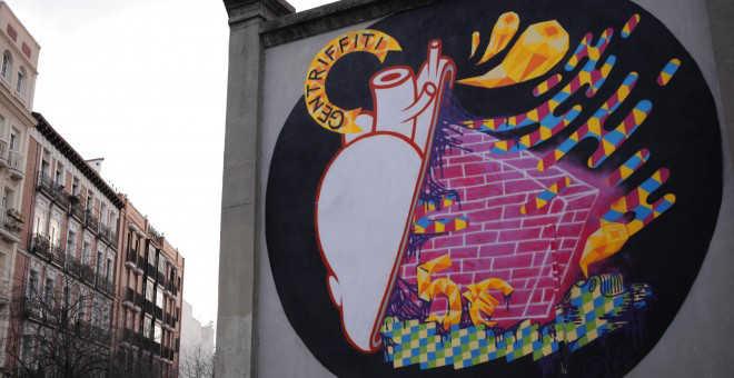 Graffiti crítico con el fenómeno de la gentrificación.- A.B.